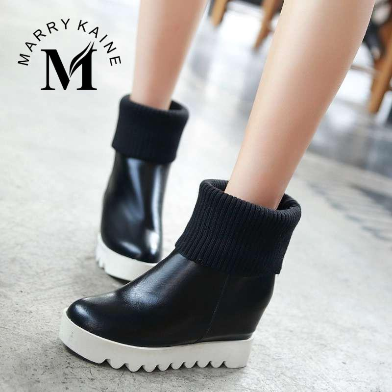 Online Shop Women Ankle Boots High Heel Wedge Shoes Round Toe ...