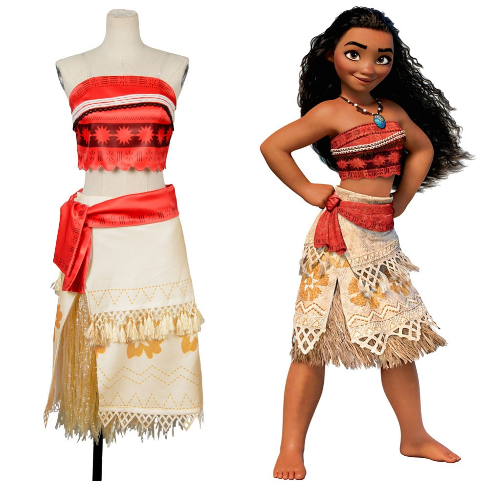 Moana Cosplay Costume Sexy Princess Costume Halloween Suit Movie Moana Costume Adult Women Party Dress Skirt Full Set