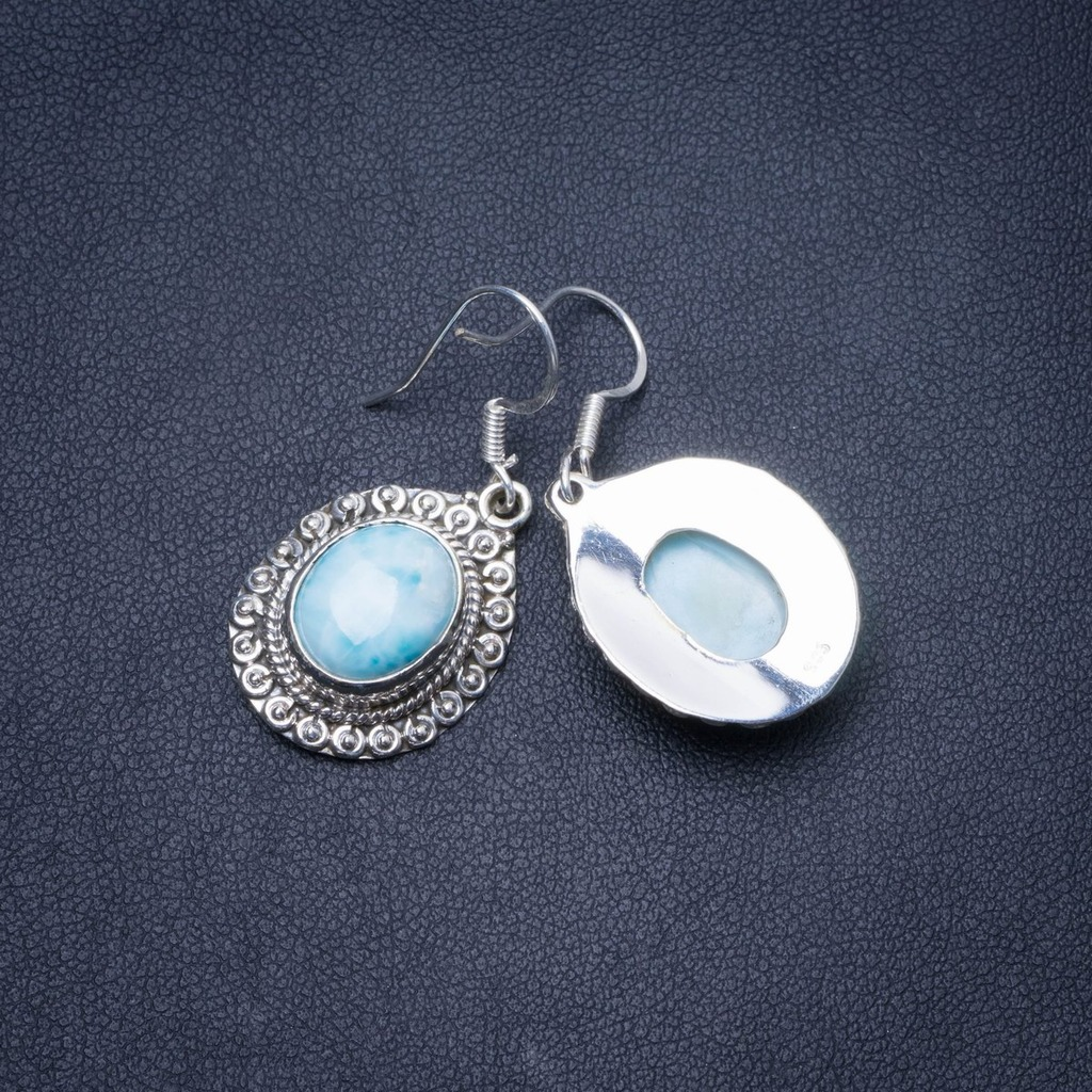 Natural Caribbean Larimar Handmade Unique 925 Sterling Silver Earrings 1.5 Y0513