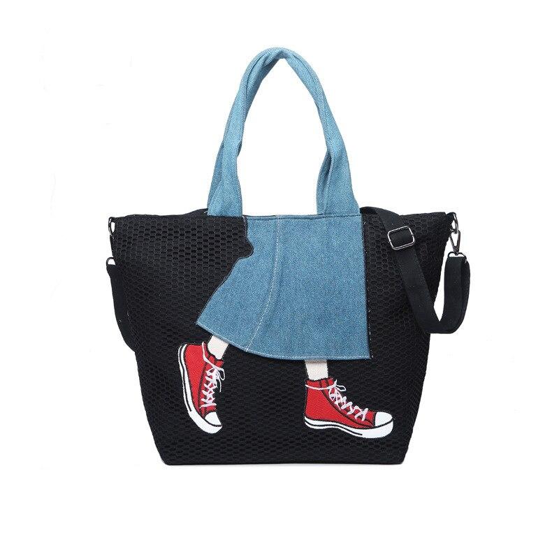 KYYSLO mode toile contraste denim jupe sac à main femmes décontracté voyage sac fourre-tout version coréenne de sauvage épaule Messenger sac
