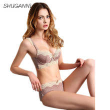 SHUGANNI Free shipping exquisite satin super thick japanese women intimates deep V push up embroidery lace lingerie set underwea
