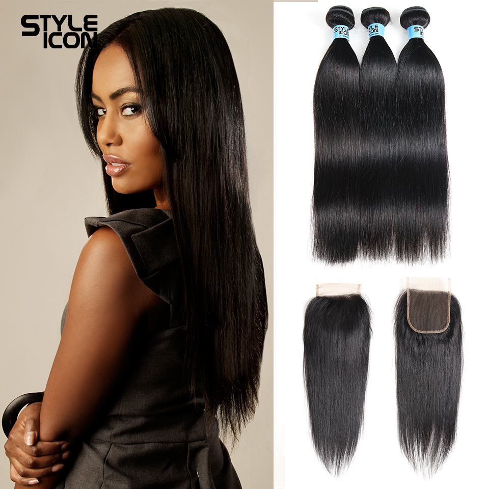 Styleicon Peruvian Straight Hair Bundles With Closure Free/Middle/Three Part Non Remy Human Hair 3 Bundles With Lace Closure