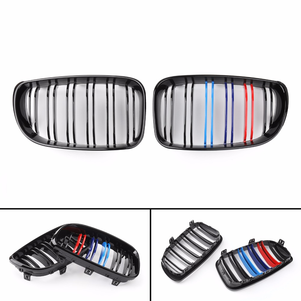 Areyourshop Car Gloss Black Mcolor Front Bumper Kidney Grille For BMW E81 E82 E87 E88 2007 2012 ABS Plastic Car Styling Part