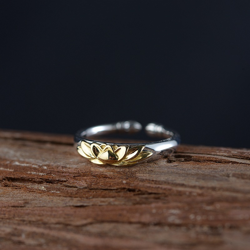 silver restoring ancient ways ring opening contracted for women golden lotus Thai silver process wholesale silver