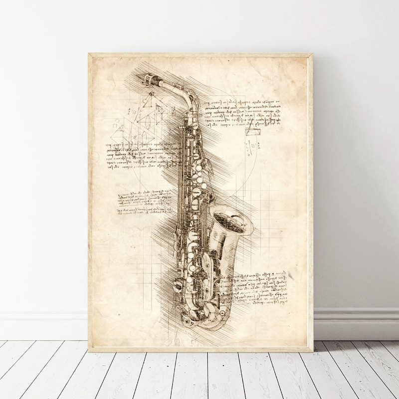 Da Vinci Inspired Sketches Saxophone Art Oil Painting Poster Prints Home Wall Decor Painting 60x90cm
