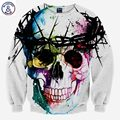 Mr.1991INC Harajuku Skull fashion men's 3d sweatshirt printed tree head ring skull hip hop hoodies long sleeve autumn tops