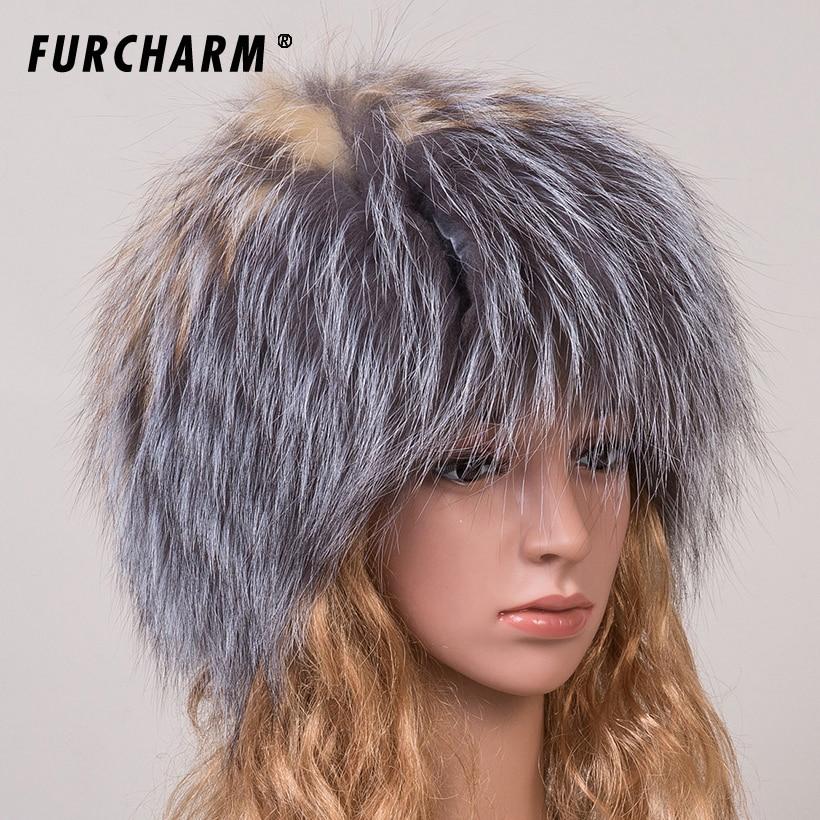 395fdf81d0d ⑥Women s Hat Winter 100% Real Fox Fur Hat with Silver Fox Fur Pom ...