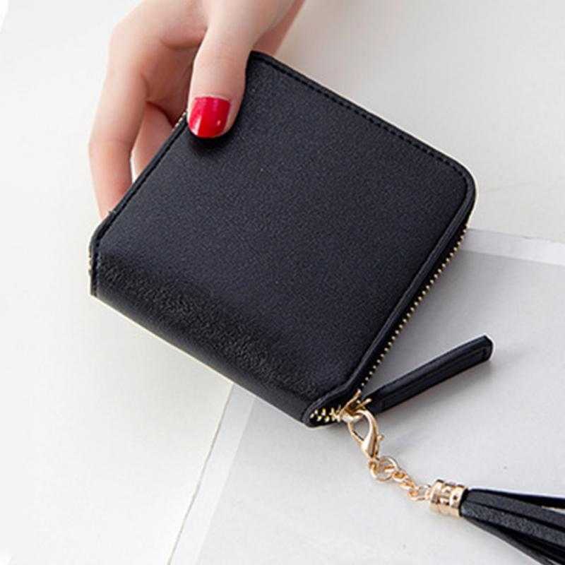 2018 NEW Coin Purses Holders Wallet Female Leather Tassel Pendant Money Wallets Hot Fashion Wine Red Clutch Bag