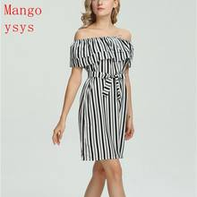 mangoysys Summer Dress Ruffle Collar 2018 Bandage Sundress Casual Sexy  Bodycon Summer off shoulder print Dress 73c1ecf3834e