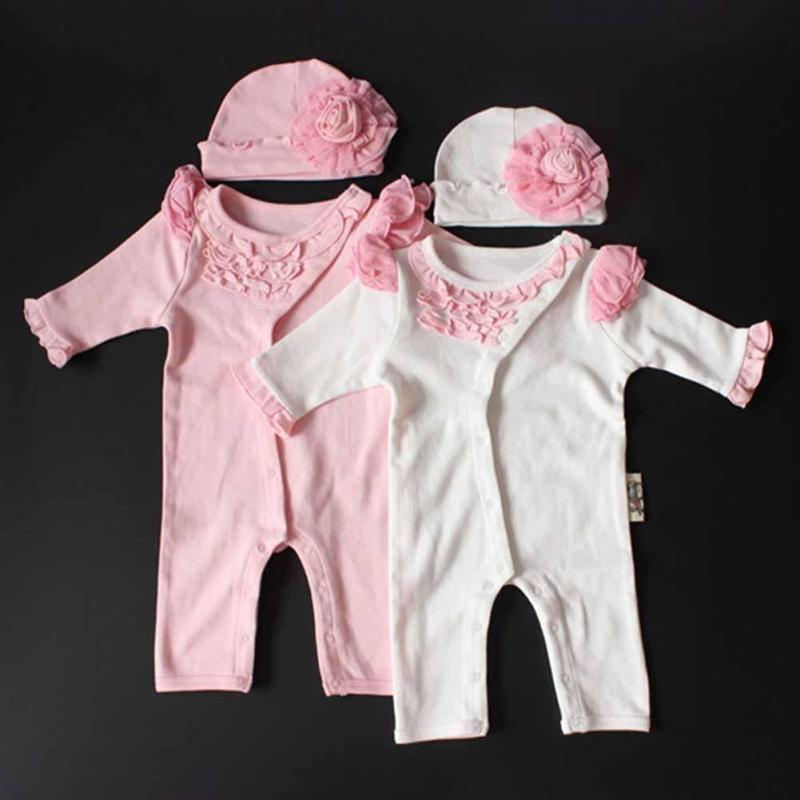 Newborn Clothing Sets Baby Girl Clothes Kids Birthday Dress Girls Lace Flower Rompers+Hats Princess Infant bebe Jumpsuit Gifts lovely flower 1set baby girl infant rompers tutu romper dress bebe party birthday kids children s sets clothing sets suit