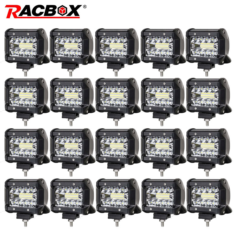 RACBOX 4 inch 60w LED Work Light Bar Combo Offroad Motorcycle Fog lights For Jeep LADA