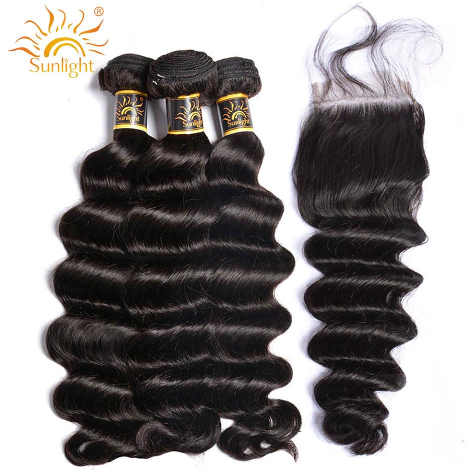 Brazilian Loose Deep Wave Bundles With Closure Remy Human Hair Bundles With Lace Closure Natural Black