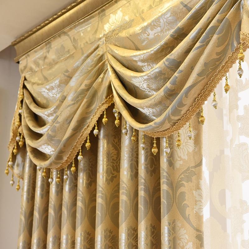 Cortinas de tule para sala estar jantar quarto valance luxo estilo europeu espessamento sombreamento janela moderna mantle villa