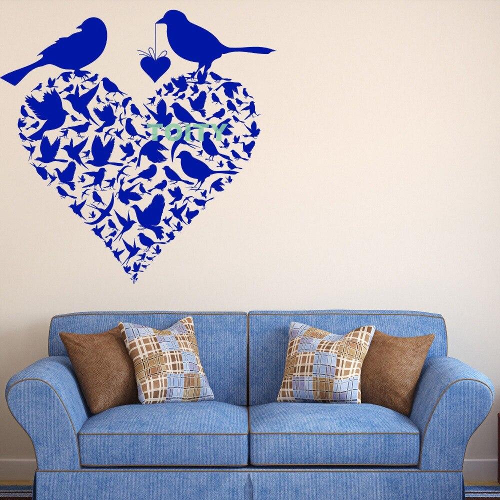 Vinyl Decal Wall Sticker Couple Birds Heart Shape Spring ...