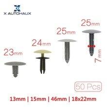 X AUTOHAUX 50 шт. подходит отверстие 7 мм | 6 мм Автомобильная пластиковая отделка дверной панели фиксатор зажимы заклепки серая головка 13 мм 15 мм 23 мм 24,5 мм