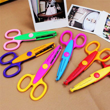 1pcs lace Scissors Metal and Plastic DIY Scrapbook Paper Photo Tools Diary Decoration Safety 6 Styles Selection AU307