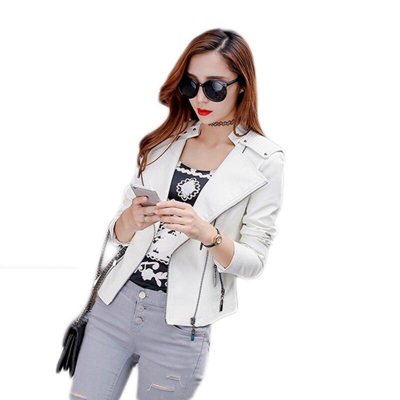 Dames Printemps New Moto Mince Haute De Femmes Cuir White Slim 2019 Veste Court Qualité En Pu nWgzvaxqw