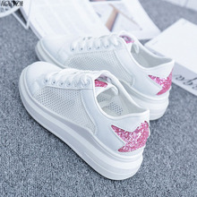 2019 Spring Lace-up flat Platform Sneakers White Breathable mesh Women Vulcanize Shoes Tenis Feminino Casual Female Z52