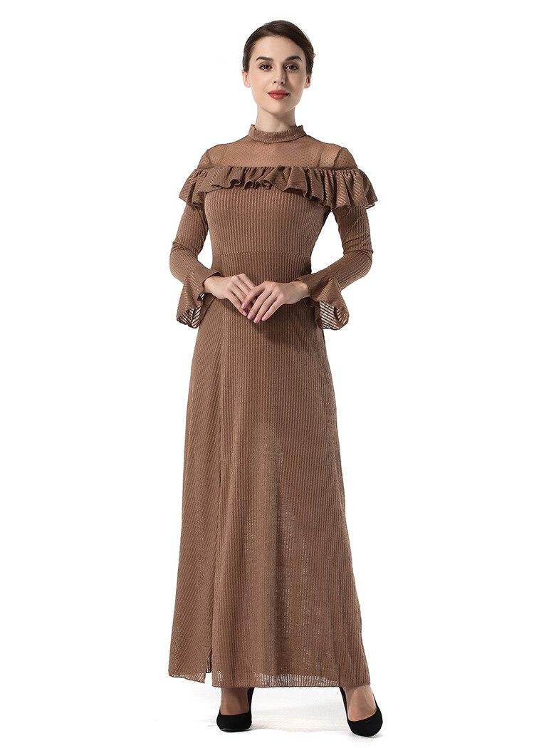 High Quality Dresses Women 2018 Spring New Ruffle Temperament long-sleeved Slim Thin Split Dress Clothing Vesditos SS1