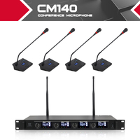 XTUGA CM140 UHF 4 Channels Professional Gooseneck Microphone system Conference wireless Mics Fixed frequency for meeting places