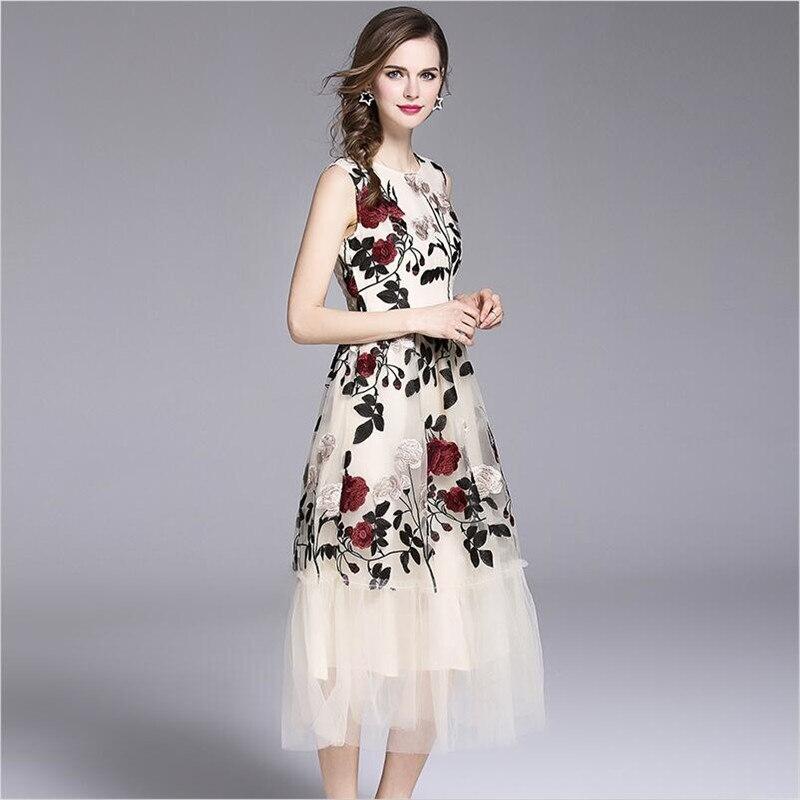 Oansatz Empire Party Kleid Blumenstickerei A Spitze Tank Line Frauen Beige Sommer Vintage 2018 S 2xl 5AL43Rj
