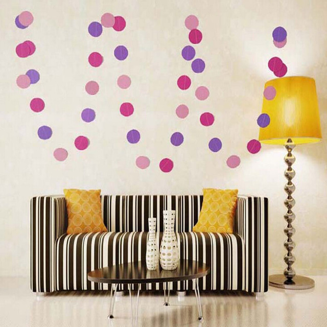 4m Fashion Cute Round Paper Garland Decorations Hanging Curtain Wall For Birthday Holiday Party Wedding Room Classroom Decor