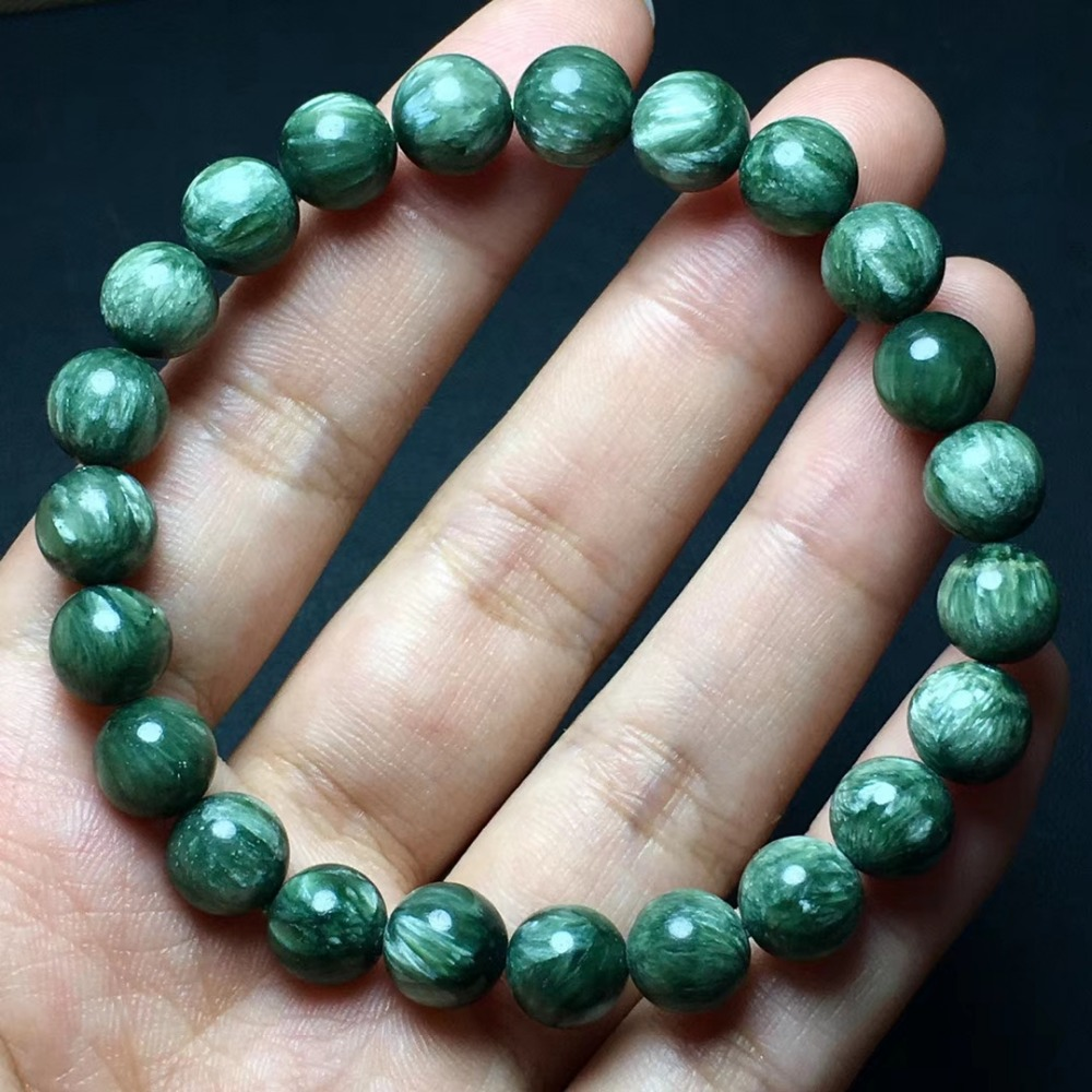 Top Quality Natural Green Seraphinite Best 8mm Round Beads Bracelets Crystal Stretch Seraphinite Women Man Bracelet AAAAA