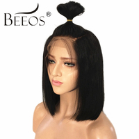 BEEOS Peruvian Glueless Full Lace Wigs With Baby Hair Bleached Knots Remy 130% Density Short Human Hair Bob Wigs Pre Plucked