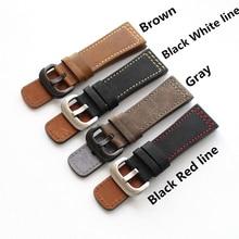 MERJUST Handmade 28mm gruby czarny brązowy szary cielę prawdziwej skóry Wrist Watch Band dla siedmiu piątek pasek pasek bransoletka