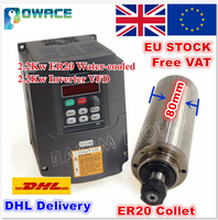 [ЕС/доставка в США] 2.2KW с водяным охлаждением двигателя шпинделя ER20 220 V & 2.2KW Инвертор VFD 220 V 2HP для ЧПУ мельница