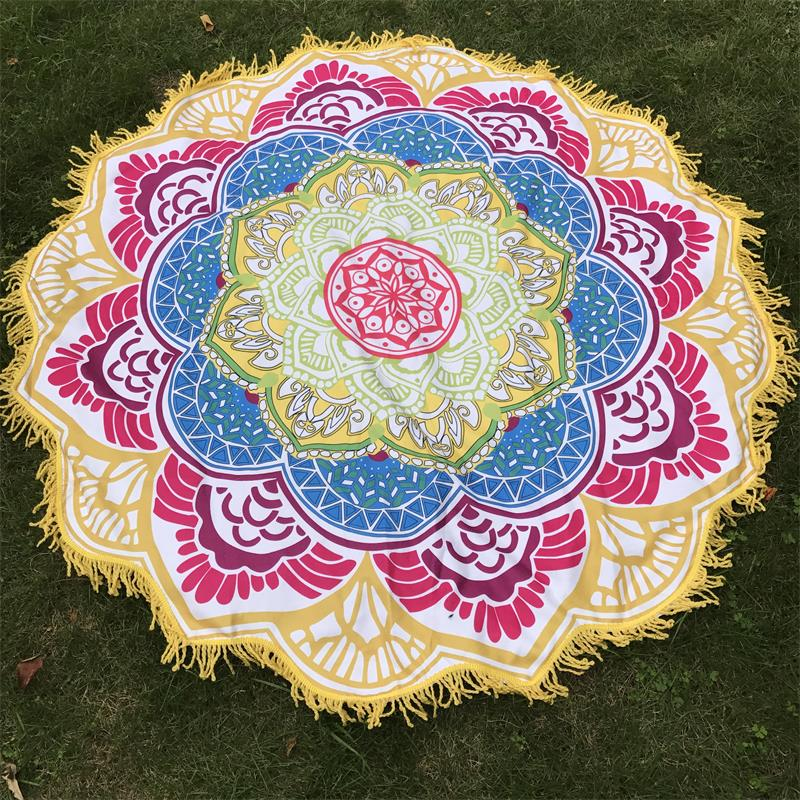 Women Chic Tassel Indian Mandala Tapestry Lotus Printed Bohemian Beach Mat Yoga Mat Sunblock Round Bikini Cover-Up Blanket 4