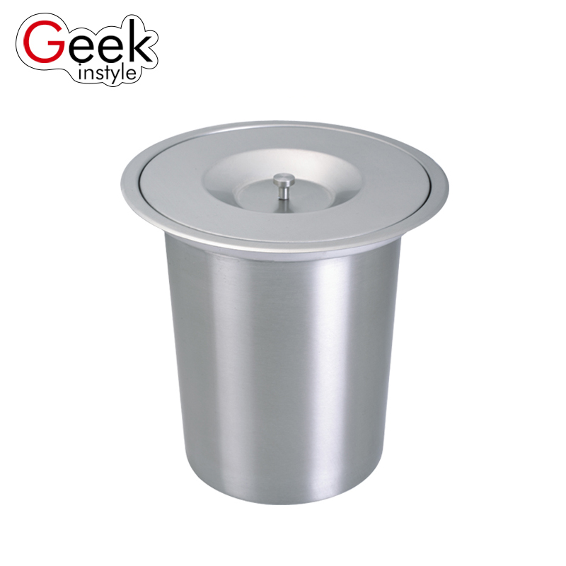 US $42.29 10% OFF Geekinstyle 8L Higt Quality Built in Trash Can Kitchen  Waste bin Stainless Steel Dustbin With Lid Garbage Bins-in Waste Bins from  ...