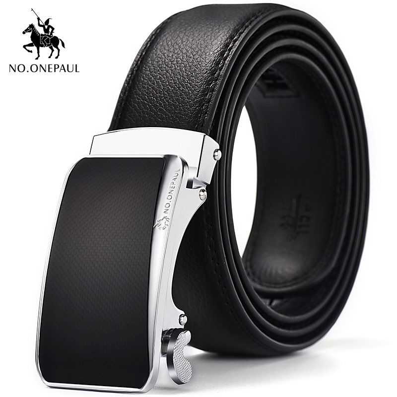 NO.ONEPAUL Men's Leather Business Automatic Buckle Fashion Middle-aged Belt Leisure Young  Students Leather High-grade Belt