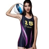 2016 One Pieces Swimsuit Plus Size Swimwear Women High Waist Swim Suit Competition Training Bathing Suit