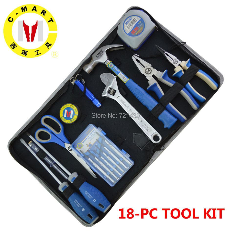 C-MART tools 18 pcs/set Repair Mixed Tools Set Kit with Screwdriver Hammer Pliers Measuring Tape Repairing Maintance Tools Kit