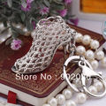 [1 piece] Free Shipping 2014 New Product Fancy Metal High Heel Shoe Keychain Key chain  5462 Individual Gift Box Packing