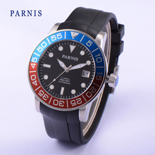 Мода 42 мм Parnis Сапфир Красный Синий Вращающийся Ободок Автоматические Часы Световой Номер Водонепроницаемость 100 М
