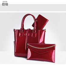XIYUAN BRAND 2017 New Women red Composite hand Bags Leather With wallet Top-Handle Bag Set For 3 Pieces Women's bucket Handbag