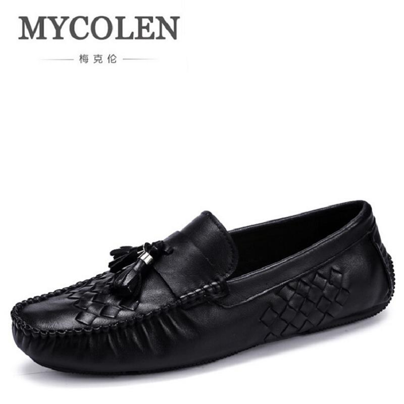 MYCOLEN Leather Men Casual Shoes Handmade Fashion Breathable Slip on Men Shoes Brand Comfortable Woven Loafers Black 2017 fashion red black white men new fashion casual flat sneaker shoes leather breathable men lightweight comfortable ee 20