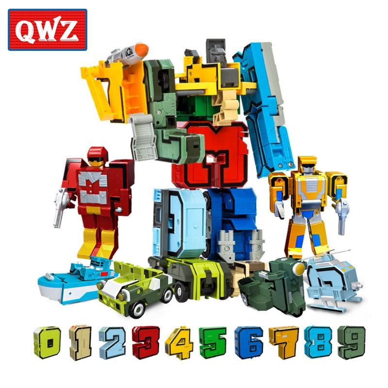 QWZ 10/15 Creative Blocs Éducatifs Assemblage Blocs Figurine Transformation Nombre Robot Déformation Robot Jouet Pour Les Enfants
