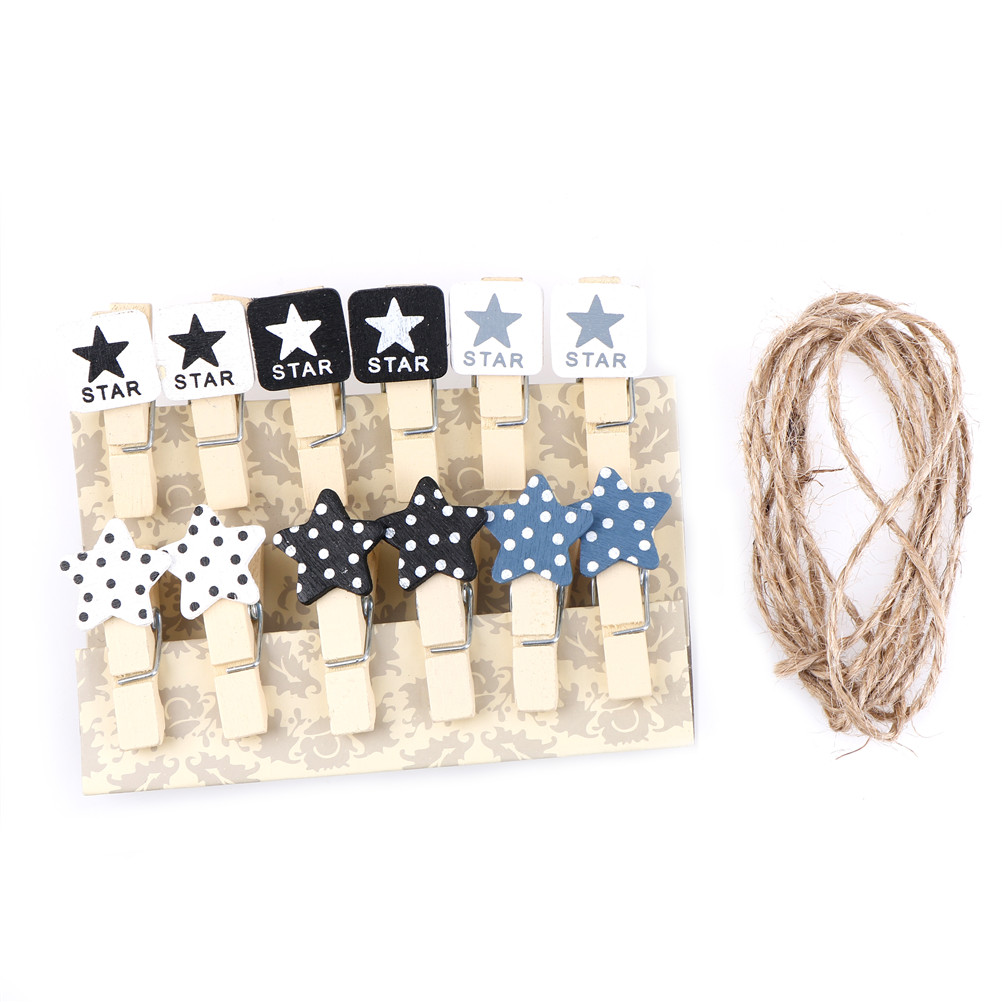 WHPHous 12pcs/lot wooden Black white photo Craft DIY Clips