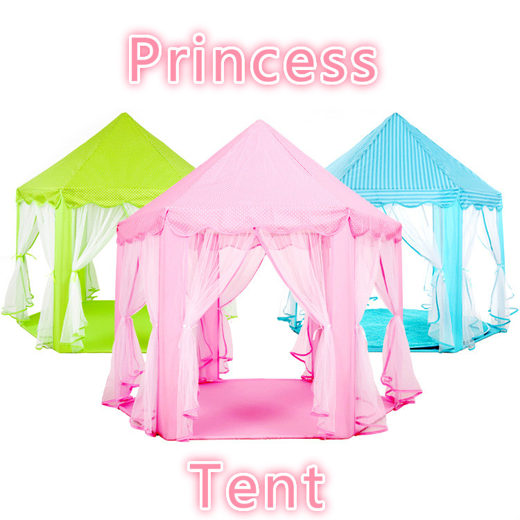 Pink Green Blue Large Space Children's Indoor Hexagonal Child Tent Play House Princess Game Castle Tent Doll House Freeshipping foldable play tent kids children boy girl castle cubby play house bithday christmas gifts outdoor indoor tents