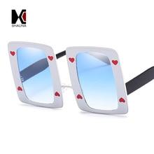 SHAUNA Oversize Thick Metal Frame Poker Sunglasses Love Decoration Fashion Women Rectangle Sunglasses 80.8g Drop Shipping