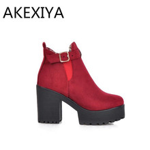 AKEXIYA Hot 2016 New Tideway Women Boots Women Fashion Winter Platform Boots Women Shoes Square Heel Boots Black Red Or Blue