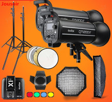 Godox QT1200II 1200WS GN76 1/8000s HSS Studio Flash Strobe Lighting Kit & X1T Transmitter+Grid Softbox+Barn Door+Light StandCD15(China)