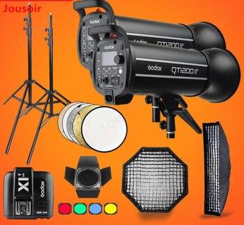 Godox QT1200II 1200WS GN76 1/8000s HSS Studio Flash Strobe Lighting Kit & X1T Transmitter+Grid Softbox+Barn Door+Light StandCD15