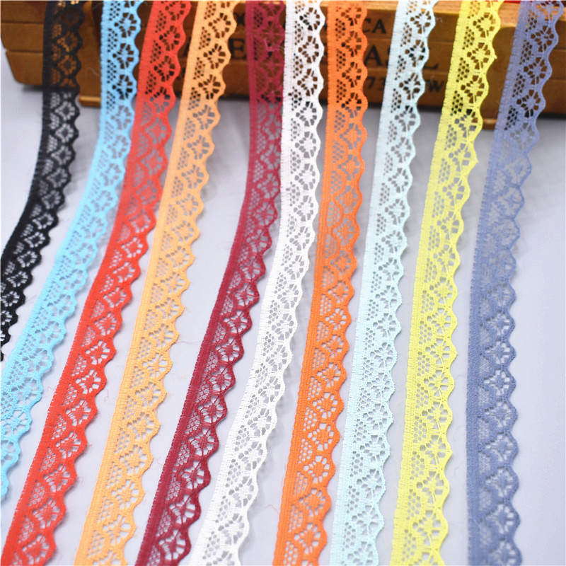 10 yards Lace Ribbon Tape Width 14MM Trim Fabric DIY Embroidered For Sewing Wedding dress Decoration african lace fabric(China)