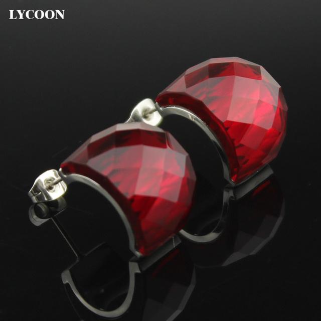 LYCOON Moda Genuine Áustria Cristais big red Brincos de Alta Qualidade Brinco de aço Inoxidável 316L para as mulheres de luxo ER0614