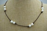 2018 New Arriver 9 10mm Big Size Pearl Necklace Real Freshwater Pearl Leather Necklace Wedding Gift For Woman