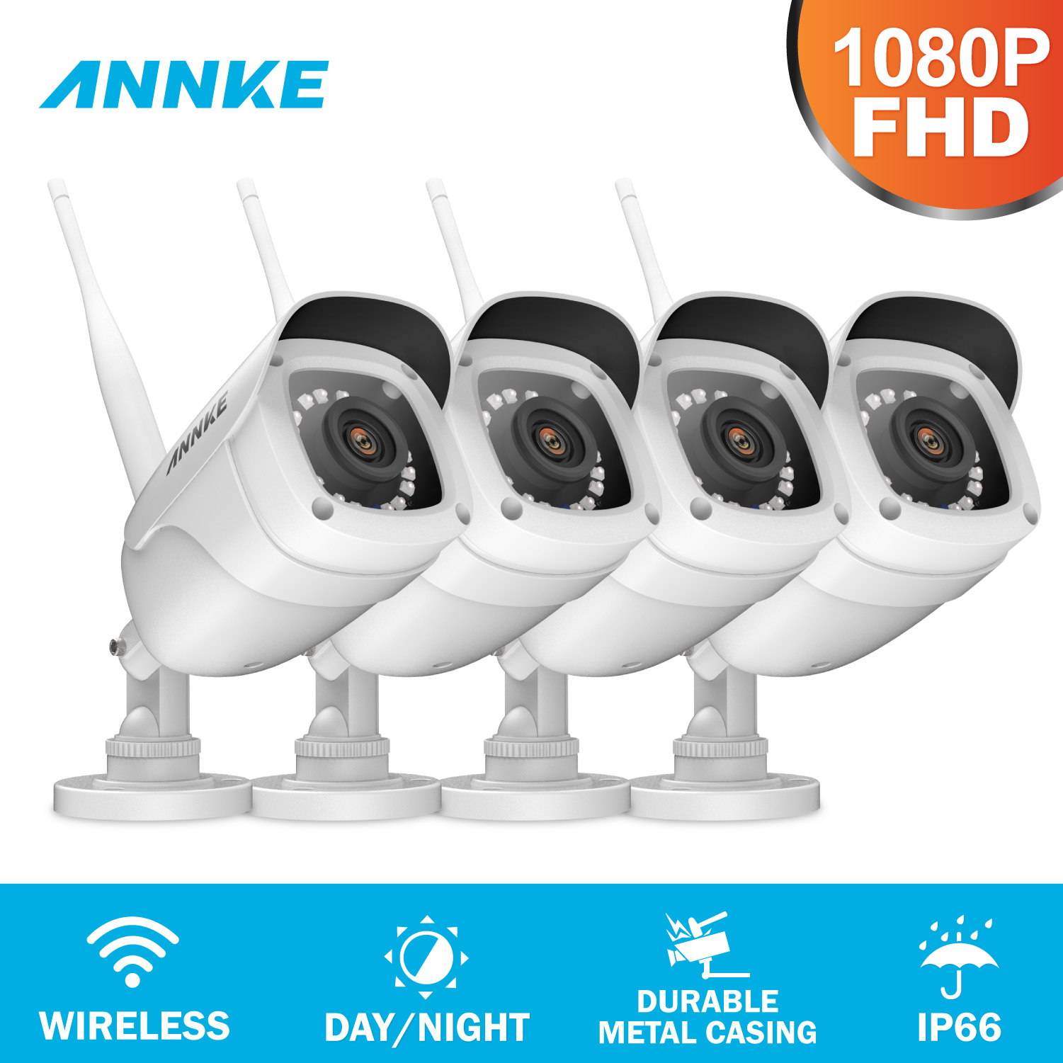ANNKE FHD 1080P IP WiFi Wireless Video Camera Surveillance System Bullet Weatherproof Camera 100ft Night Vision With Smart IRANNKE FHD 1080P IP WiFi Wireless Video Camera Surveillance System Bullet Weatherproof Camera 100ft Night Vision With Smart IR